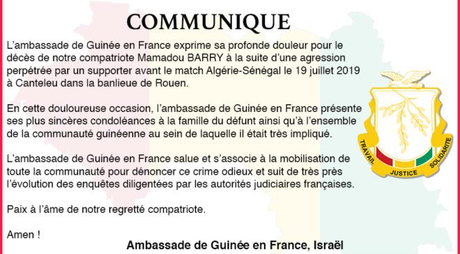 Communiqué suite au décès de notre compatriote Mamadou BARRY