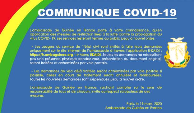 COMMUNIQUE COVID-19