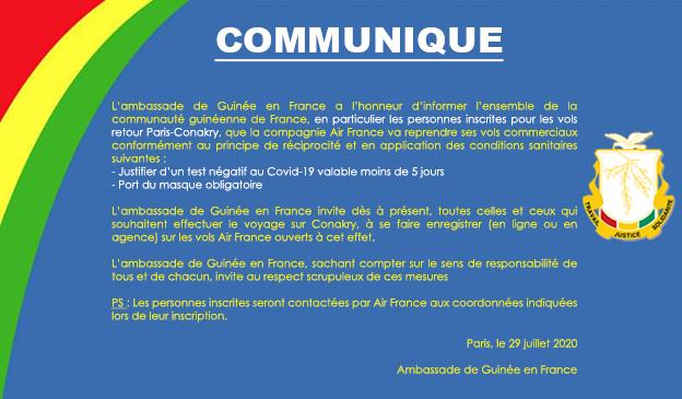 Communiqué : Reprise Vol Paris-Conakry