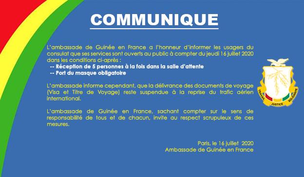 Communiqué : Réouverture du Consulat au public
